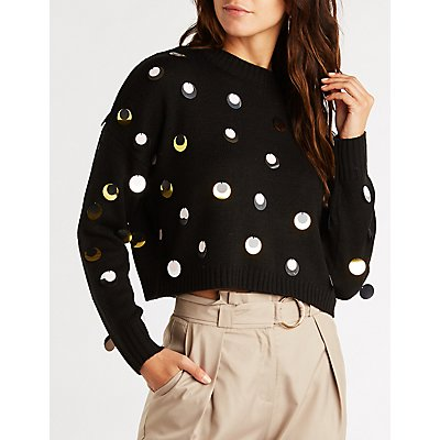 Sequin Cropped Sweater