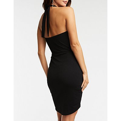 Wrap Front Halter Dress
