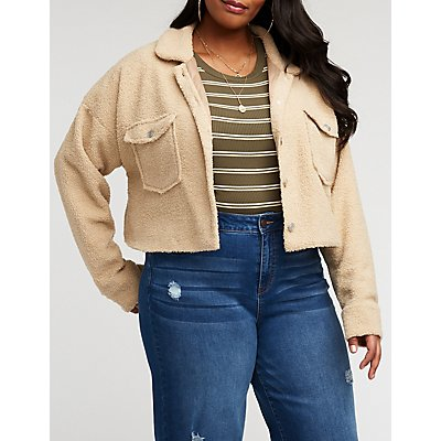 Plus Size Teddy Button Up Jacket