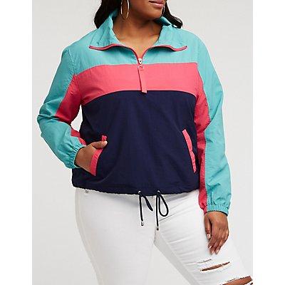 Plus Size Color Block Half Zip Anorak