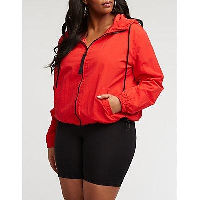 Plus Size Nylon Hooded Track Jacket