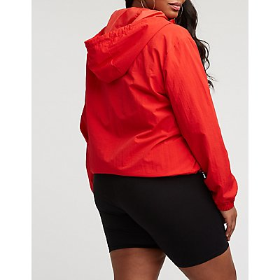 Plus Size Nylon Hooded Track Jacket