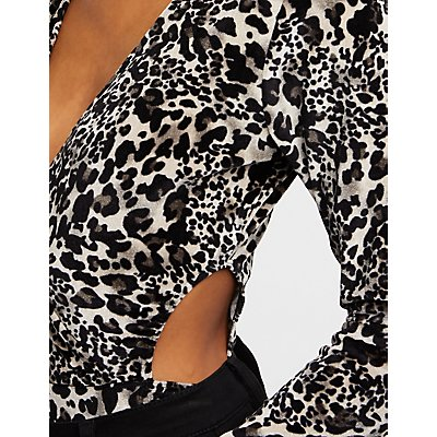 Leopard Velvet Cut Out Bodysuit