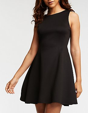 Exposed Back Zip Skater Dress