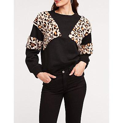 Leopard Block Pullover Sweatshirt