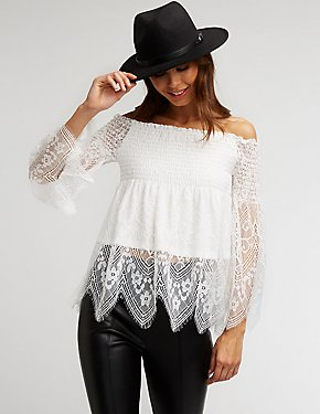 Smocked Lace Off The Shoulder Blouse