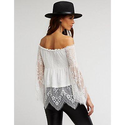 Smocked Lace Off The Shoulder Blouse