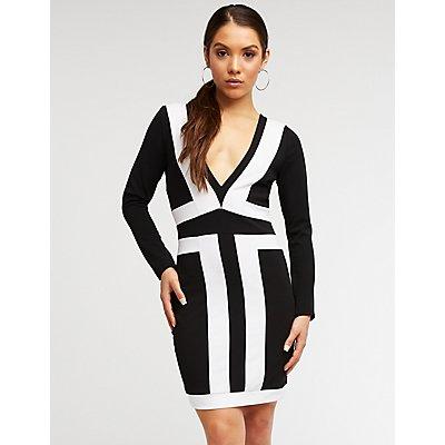 Colorblock Deep V Bodycon Dress