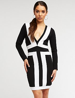 Colorblock Deep V Bodycon Dress