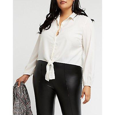 Plus Size Button Up Blouse
