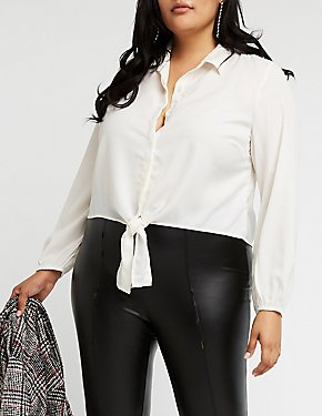 Plus Size Button Up Blouse