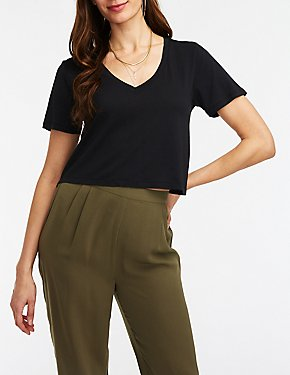 V Neck Crop Boyfriend Tee