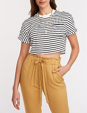 Striped Dolman Crop Tee