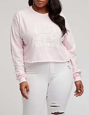Plus Size Hello Kitty Crop Top