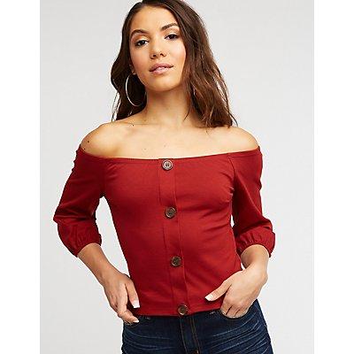 Off The Shoulder Button Crop Top