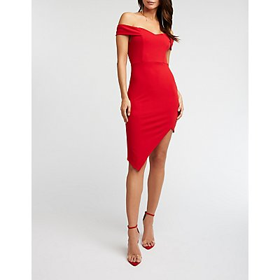 Off The Shoulder Asymmetrical Dress