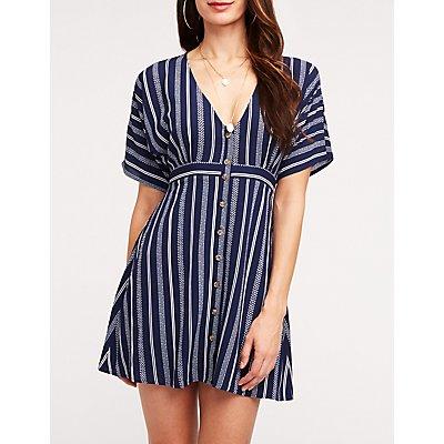 Striped Button Up Dolman Dress
