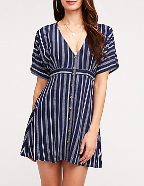 Striped Button Up Dolman Dress