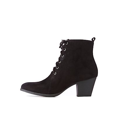 Qupid Faux Suede Lace Up Booties by Charlotte Russe