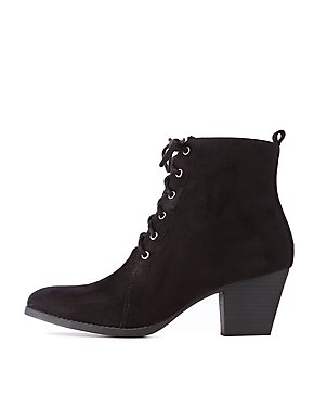 Qupid Faux Suede Lace Up Booties