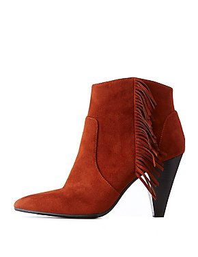 Qupid Faux Suede Side Fringe Booties