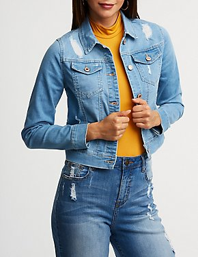 Destroyed Cropped Denim Jacket
