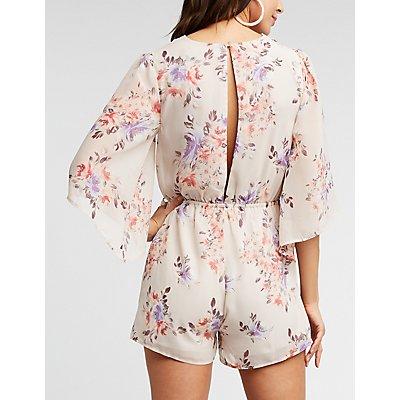 Floral Kimono Sleeve Romper
