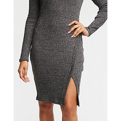 Deep V Neck Ribbed Bodycon Dress
