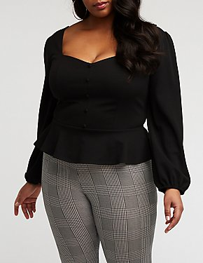 Plus Size Button Up Peplum Blouse