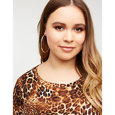 Plus Size Leopard Front Tie Top