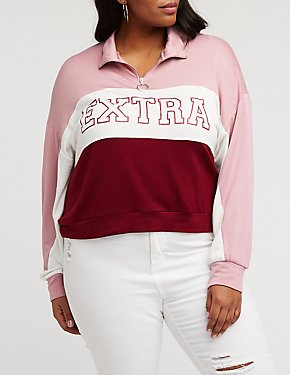Plus Size Extra Color Block Sweatshirt