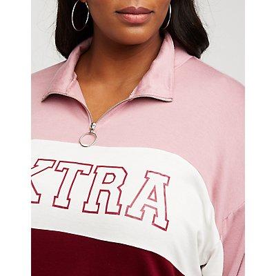Plus Size Extra Color Block Sweatshirt
