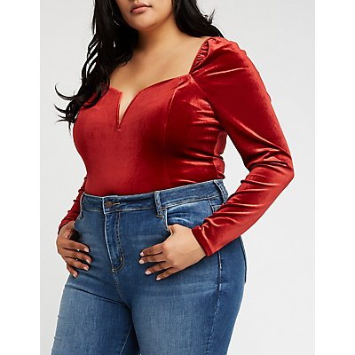 Plus Size Velvet Sweetheart Bodysuit