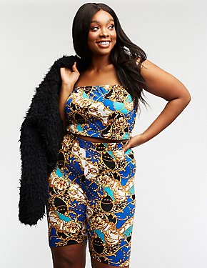 Plus Size Status Print Tube Top