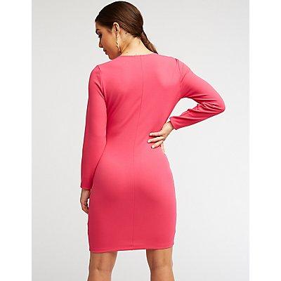 Zip Front Bodycon Dress