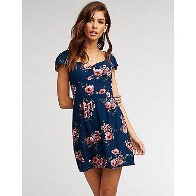Floral Sweetheart Skater Dress