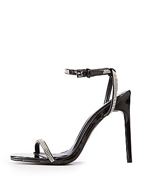 Crystal Patent Ankle Strap Sandals