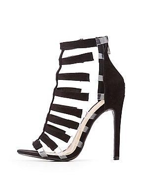 Faux Suede & PVC Caged Dress Sandals