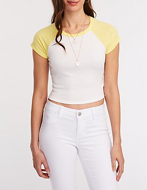 Ribbed Crop Baseball Tee