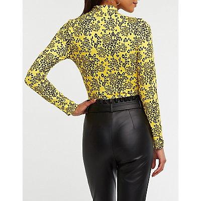 Leopard Print Mock Neck Bodysuit