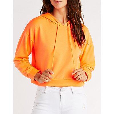 Neon Fleece Crop Hoodie