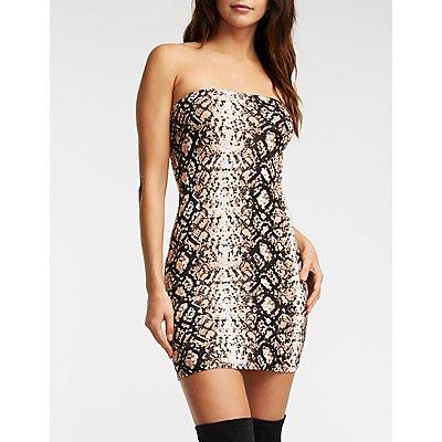 Snakeskin Print Tube Dress