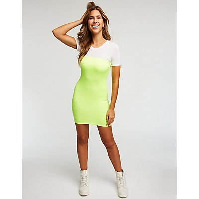 Neon Mini Bodycon Dress
