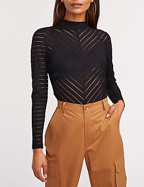 Chevron Mesh Mock Neck Bodysuit