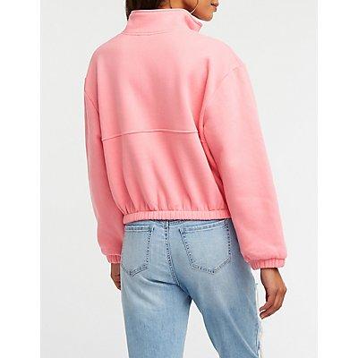Half Zip Kangaroo Pocket Pullover Sweater