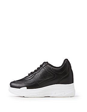 Faux Leather Chunky Sneakers