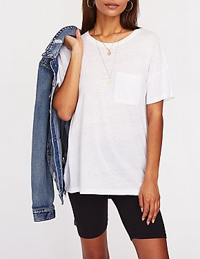 Oversize Crew Neck Pocket Tee