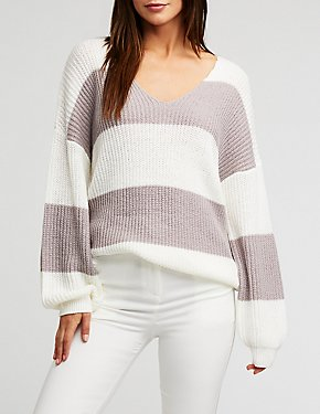 V Neck Color Block Knit Pullover