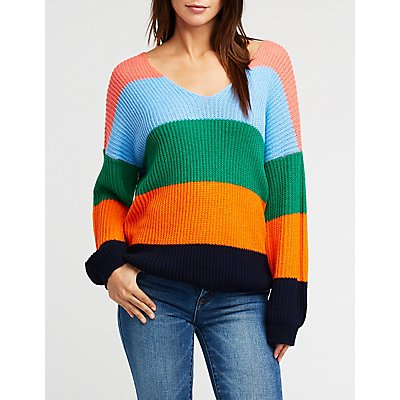 V Neck Color Block Knit Pullover