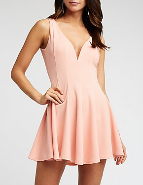 Wired V Neck Skater Dress